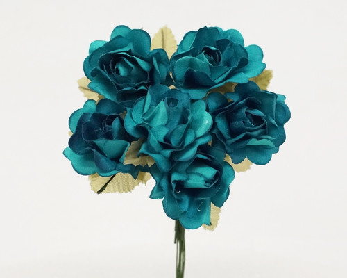 "1"" Turquoise Big Rose with Leaf Paper Craft Flowers - Pack of 72"