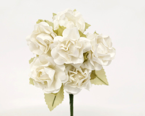 """1"""" White Big Rose with Leaf Paper Craft Flowers - Pack of 72"""