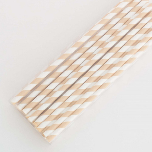 Peach Pretty Paper Straws - Pack of 200