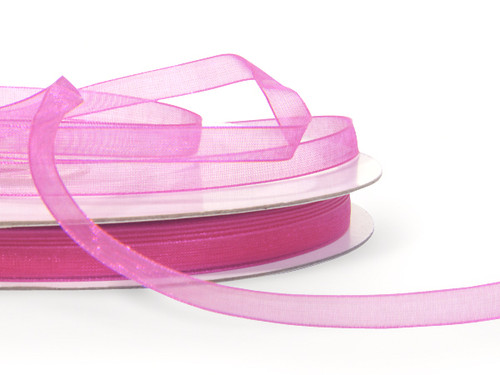 "5/8""x25 yards Fuchsia Organza Sheer Gift Ribbon - Pack of 10 Rolls"