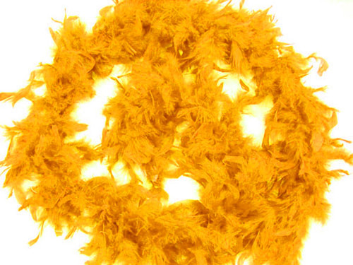 """4.5"""" Wide 72"""" (6 Feet) Long Gold Yellow Chandelle Feather Boas - Pack of 10"""