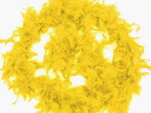 """4.5"""" Wide 72"""" (6 Feet) Long Light Yellow Chandelle Feather Boas - Pack of 10"""