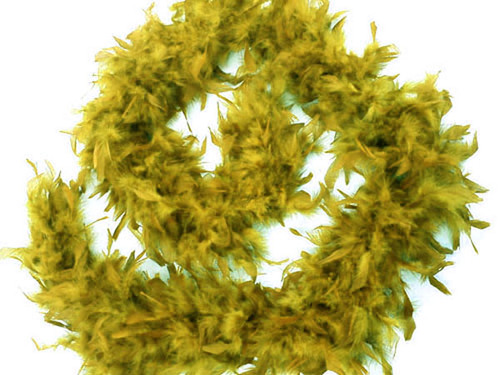 """4.5"""" Wide 72"""" (6 Feet) Long Olive Chandelle Feather Boas - Pack of 10"""