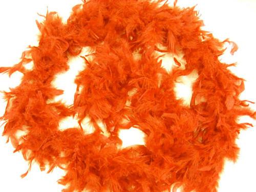 "4.5"" Wide 72"" (6 Feet) Long Orange Chandelle Feather Boas - Pack of 10"