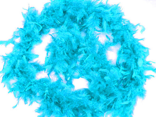 """4.5"""" Wide 72"""" (6 Feet) Long Turquoise Chandelle Feather Boas - Pack of 10"""