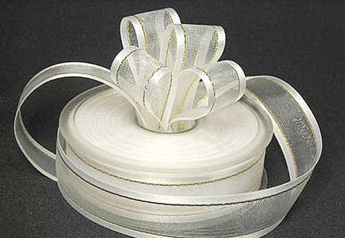 """7/8""""x25 yards White Organza Satin Edge with Gold/Silver Trim Gift Ribbon - Pack of 7 Rolls"""