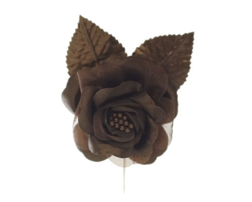 "2.5"" Brown Silk Single Rose Flowers - Pack of 12"