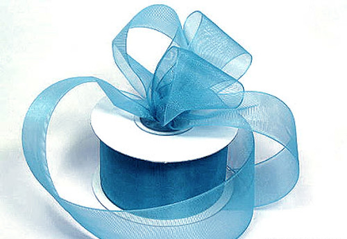"1.5""x25 yards Blue Organza Sheer Gift Ribbon - Pack of 5 Rolls"