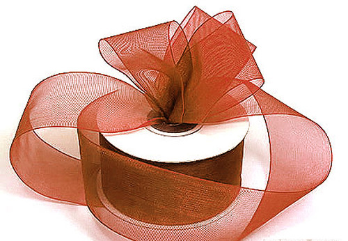 "1.5""x25 yards Copper Organza Sheer Gift Ribbon - Pack of 5 Rolls"