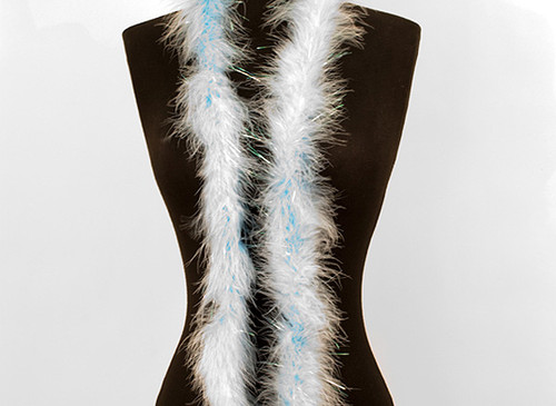 "1.5"" Wide 72"" (6 Feet) Long Light Blue Marabou Feather Boas - Pack of 10 Boas"