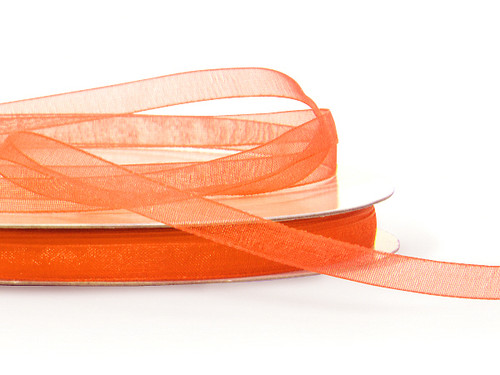 "7/8""x25 yards Orange Organza Sheer Gift Ribbon - Pack of 7 Rolls"