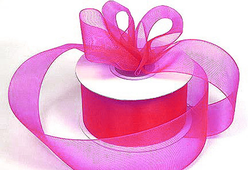 "1.5""x25 yards Fuchsia Organza Sheer Gift Ribbon - Pack of 5 Rolls"