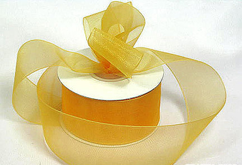 "1.5""x25 yards Gold Organza Sheer Gift Ribbon - Pack of 5 Rolls"