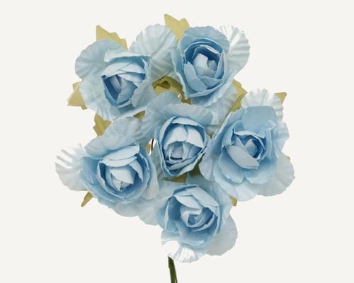 "1.25"" Light Blue Big Rose Paper Craft Flowers - Pack of 72"
