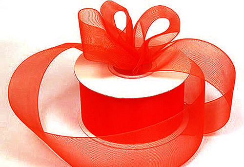 """1.5""""x25 yards Red Organza Sheer Gift Ribbon - Pack of 5 Rolls"""