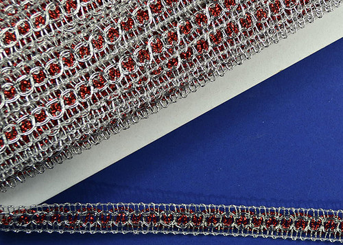 """5/8"""" Wide 30 Yard Red with Silver Trims - 5 Packs Metallic Trim"""