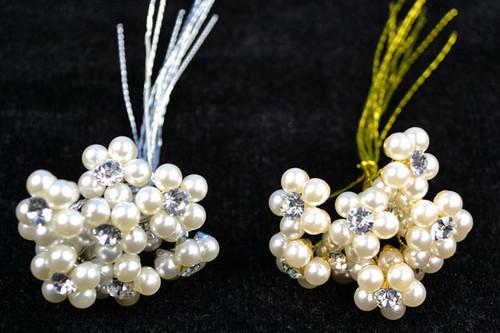 "5/8"" Pearl Rhinestone Stem Bouquet Jewelry - Pack of 100 Rhinestone Floral Picks"
