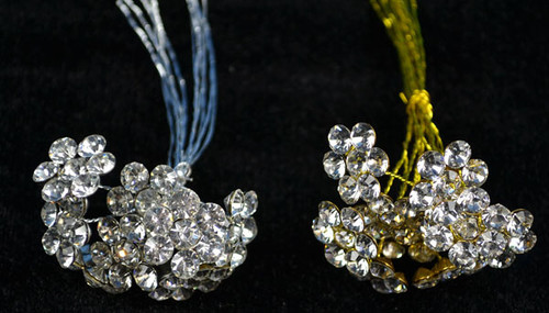 "3/4"" Rhinestone Bouquet Picks - Pack of 100 Rhinestone Floral Picks"