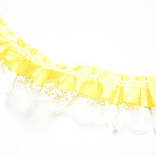 "1"" x 50 Yards Yellow Ruffled Lace Trim"