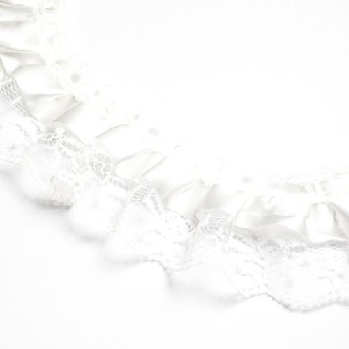"2"" x 50 Yards White Ruffled Lace Trim"