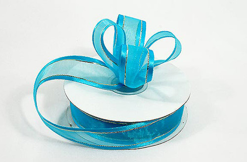 """7/8""""x25 yards Turquoise Organza Satin Edge with Gold/Silver Trim Gift Ribbon - Pack of 7 Rolls"""