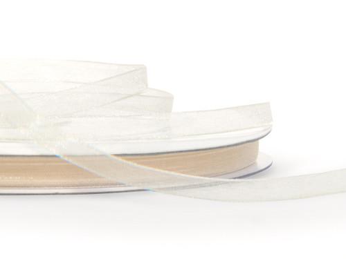 "7/8""x25 yards Ivory Organza Sheer Gift Ribbon - Pack of 7 Rolls"