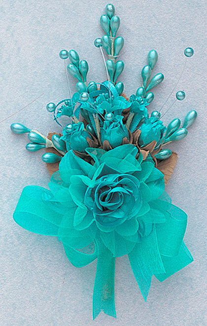 "7"" Aqua Blue Bridal Corsage Silk Spray Flowers - Pack of 12"
