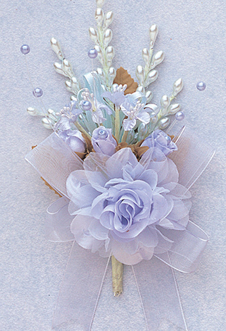 "7"" Light Blue Bridal Corsage Silk Spray Flowers - Pack of 12"