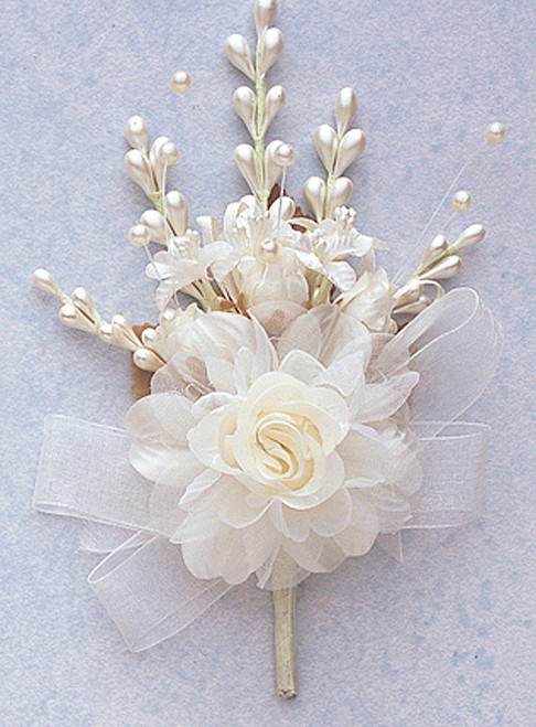 "7"" Ivory Bridal Corsage Silk Spray Flowers - Pack of 12"