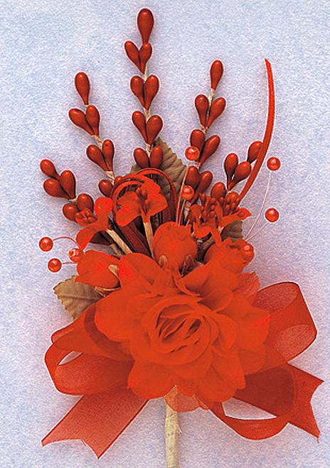 "7"" Orange Bridal Corsage Silk Spray Flowers - Pack of 12"