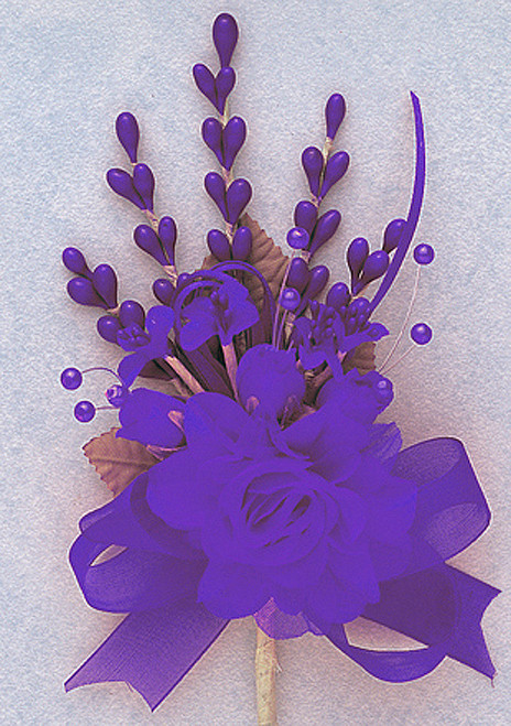"7"" Purple Bridal Corsage Silk Spray Flowers - Pack of 12"