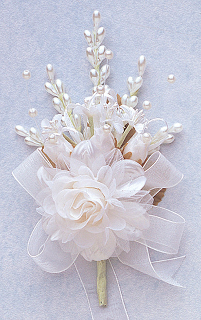 "7"" White Bridal Corsage Silk Spray Flowers - Pack of 12"