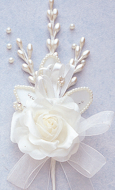 """7"""" Ivory Rose Corsage Silk Spray Flowers - Pack of 12"""