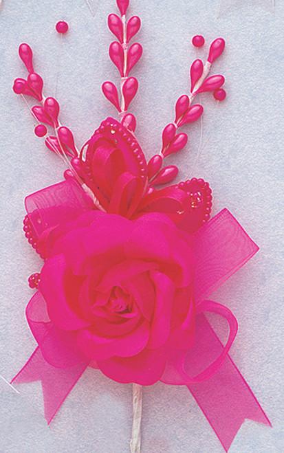 "7"" Fuchsia Rose Corsage Silk Spray Flowers - Pack of 12"