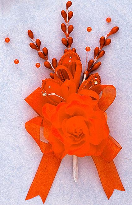 "7"" Orange Rose Corsage Silk Spray Flowers - Pack of 12"