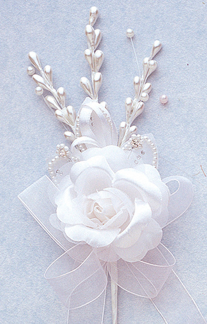 """7"""" White Rose Corsage Silk Spray Flowers - Pack of 12"""