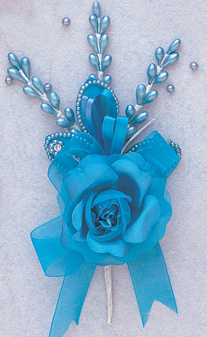 """7"""" Turquoise Rose Corsage Silk Spray Flowers - Pack of 12"""