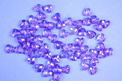 Purple Transparent Acrylic Heart Beads - Bag of 0.55 Pound