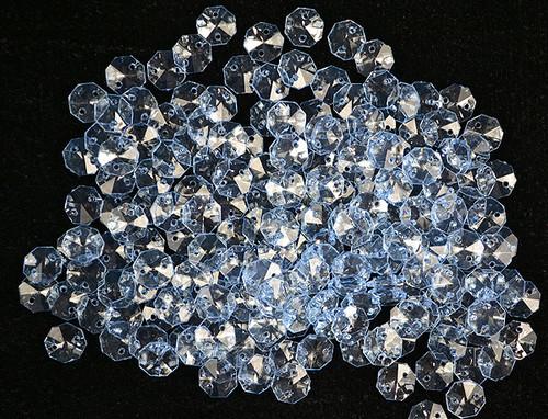 14mm Blue Transparent Acrylic Octagon Beads - Bag of 0.55 pound