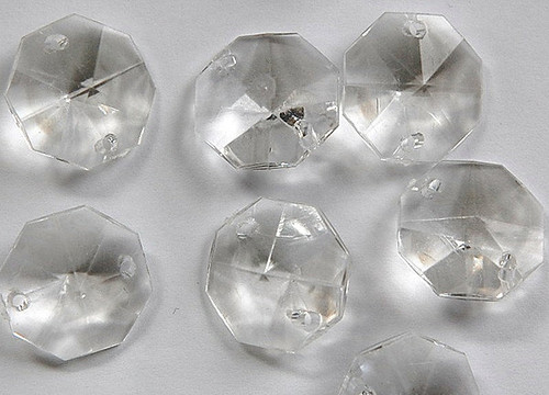 14mm Clear Transparent Acrylic Octagon Beads - Bag of 0.55 pound