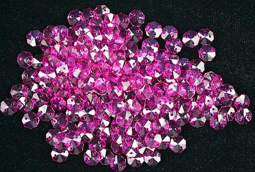 14mm Fuchsia Transparent Acrylic Octagon Beads - Bag of 0.55 pound