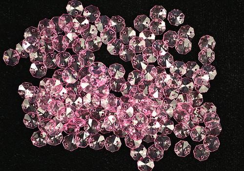 14mm Pink Transparent Acrylic Octagon Beads - Bag of 0.55 pound