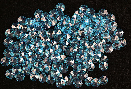 14mm Turquoise Transparent Acrylic Octagon Beads - Bag of 0.55 pound