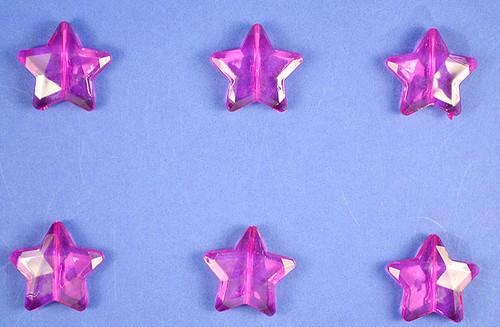 Fuchsia Transparent Acrylic Star Beads - Bag of 0.55 pound