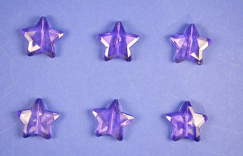 Purple Transparent Acrylic Star Beads - Bag of 0.55 pound