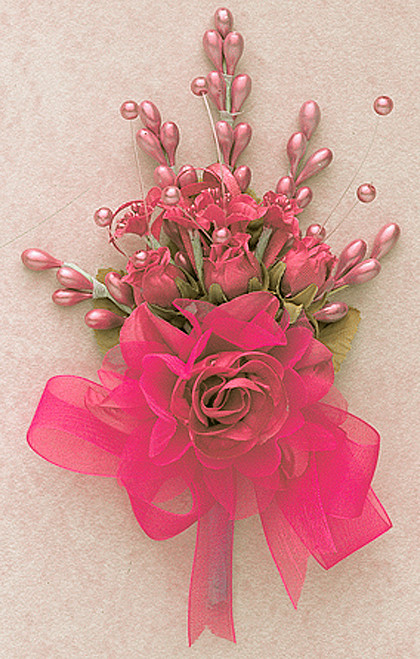 "7"" Coral Bridal Corsage Silk Spray Flowers - Pack of 12"