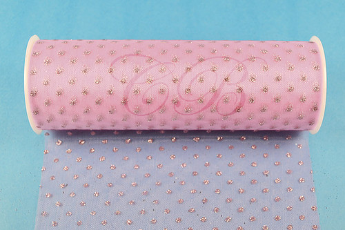 """6""""x6 yards (18 FT) Pink Sparkle Organza Rolls with Pink Glitter Dots - Pack of 6 Spools"""
