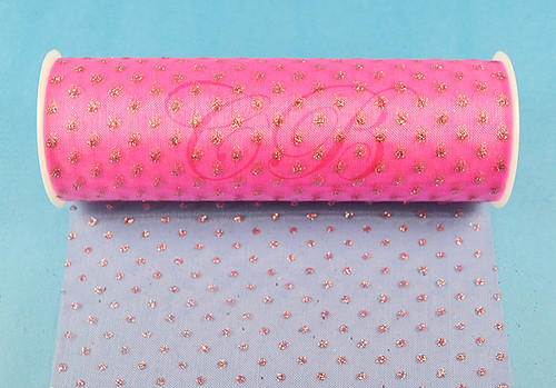 """6""""x6 yards (18 FT) Shocking Pink Sparkle Organza Rolls with Shocking Pink Glitter Dots - Pack of 6 Spools"""