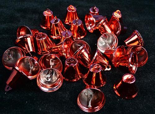 """1 1/4"""" Red Metal Wedding Bells - Pack of 100"""