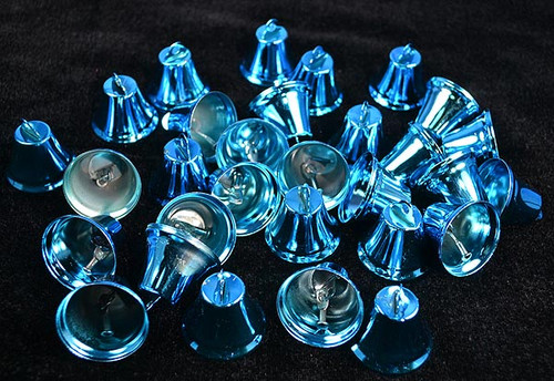 "1 1/4"" Turquoise Metal Wedding Bells - Pack of 100"